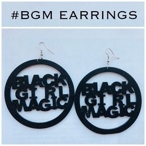 Jewelry - #BGM Wood Laser Carved Earrings in Black